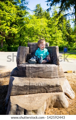 A cute young boy sits on a stump carved into a seat at a park outdoors for this cute and simple portrait.