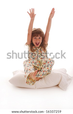 A cute young girl playing - stock photo