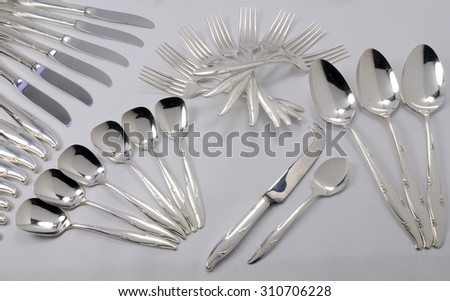 A cutlery set silver plated