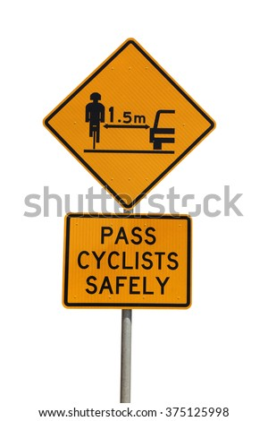 A cycling safety sign isolated on white