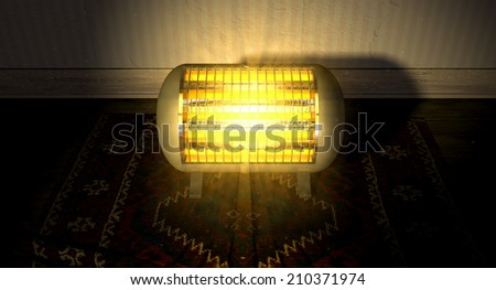 A cylindrical shaped electrical heater illuminated and radiating in an old room on a vintage red persian rug  - stock photo