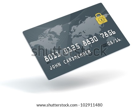 A 3D blue credit card over a white background - stock photo