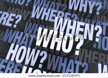 "A 3D blue gray background filled with ""WHO?"", ""WHAT?"", ""WHERE?"", ""WHEN?"", ""HOW?"", and ""WHY?"" at different depths."