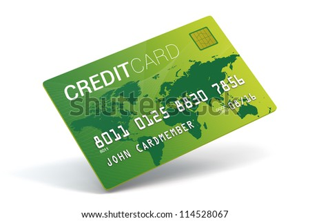 A 3D Bright green credit card on a white background