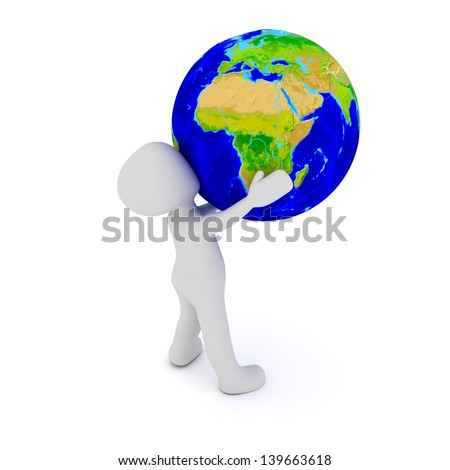 A 3d character holding the world in his arms