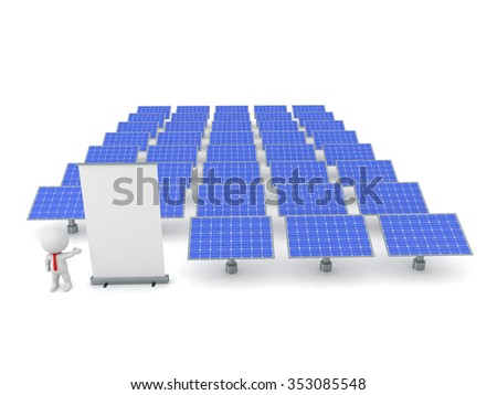 A 3D character is showing a rollup poster and many solar panels. Isolated on white background.