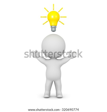 A 3D character with his arms raised, and with a light bulb idea above his head. Isolated on white background.