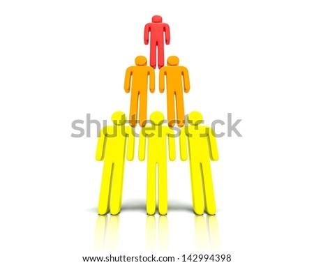 A 3D concept graphic depicting a hierarchy of people. Rendered against a white background with a soft shadow and reflection to enhance the 3D. - stock photo