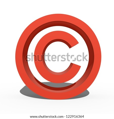 A 3d copyright symbol isolated against a white background - stock photo