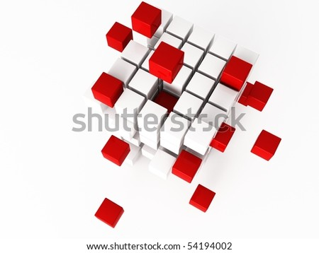 a 3d cube on a shite background - stock photo