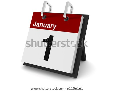A 3D day calendar on a white background showing the date January 1st