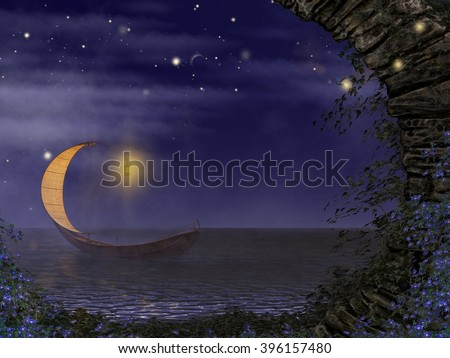 A 3d digital illustration of a cute Elven boat on a lake at night. - stock photo