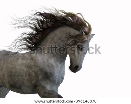 A 3d digital rendering of a dappled grey horse isolated on white background.  - stock photo