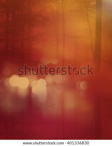 A 3D digital rendering of a peaceful wood at sunset reflected in a lake. - stock photo