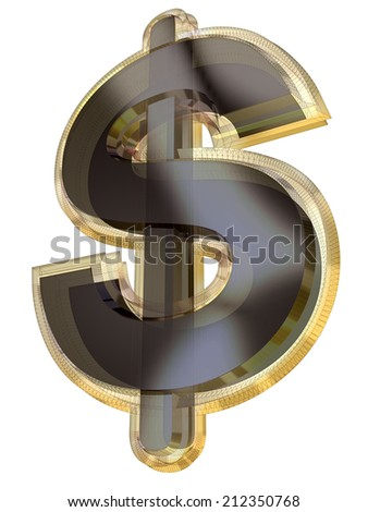 A 3D dollar symbol in semi-transparent gold and gray with wire-frame effect isolated on white