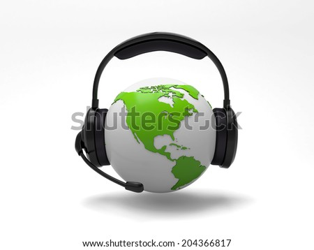 A 3d earth with a headset isolated on white background