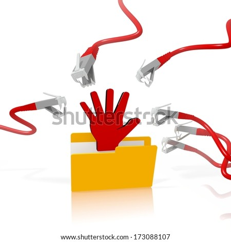 a 3d file folder with a red hand in it isolated on white background is attacked and hacked by network cables