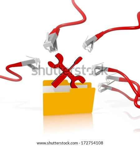a 3d file folder with a red mechanic in it isolated on white background is attacked and hacked by network cables