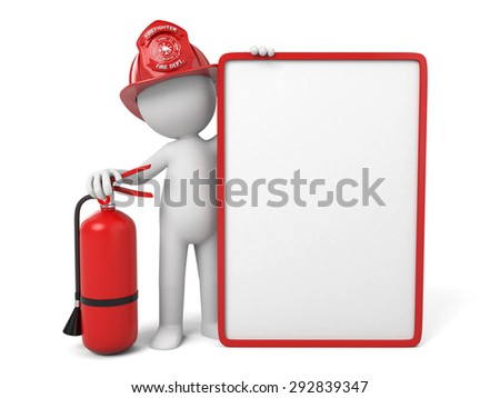 A 3d fireman standing with signboard. 3d image. Isolated white background