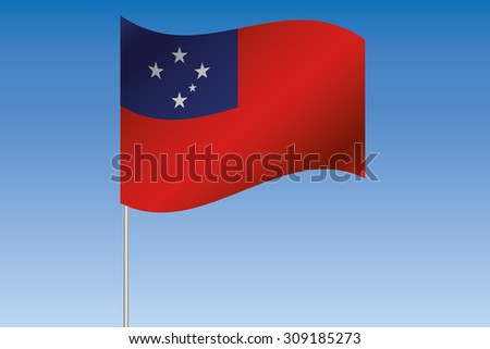 A 3D Flag Illustration waving in the sky of the country of  Western Samoa