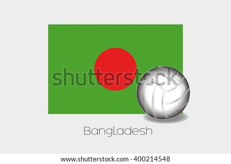A 3D Football Illustration with the Flag of Bangladesh