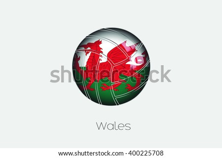A 3D Football with a Flag Illustration of Wales - stock photo