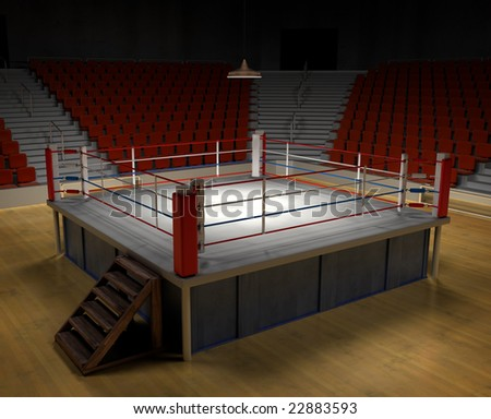 A 3d generated professional boxing ring front ropes removed. Easly place objects - stock photo