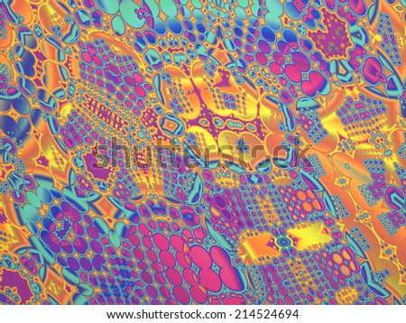 A 3d geometric fractal pattern in retro psychedelic style. - stock photo