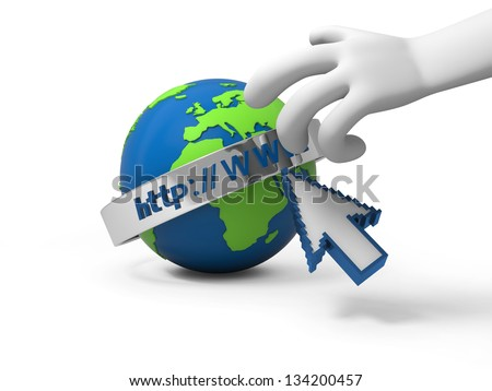 A 3d hand reaching the internet model