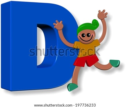 A 3d happy cartoon boy standing next to a giant letter D.