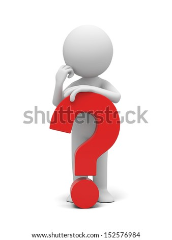 A 3d human character/ a question mark  - stock photo