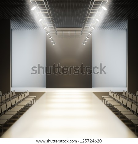 A 3D illustration blank template layout of fashion empty white catwalk runway. - stock photo