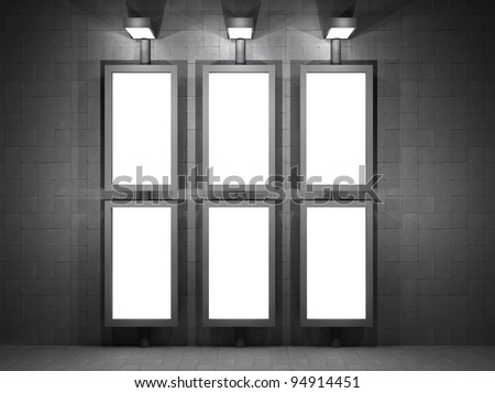 a 3d illustration of a advertising panel at night - stock photo