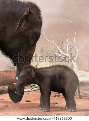 A 3d illustration of a baby elephant discovering a butterfly with mom nearby. - stock photo
