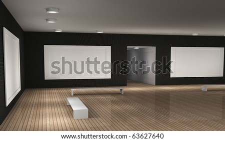 a 3d illustration of a empty museum room with frames - stock photo