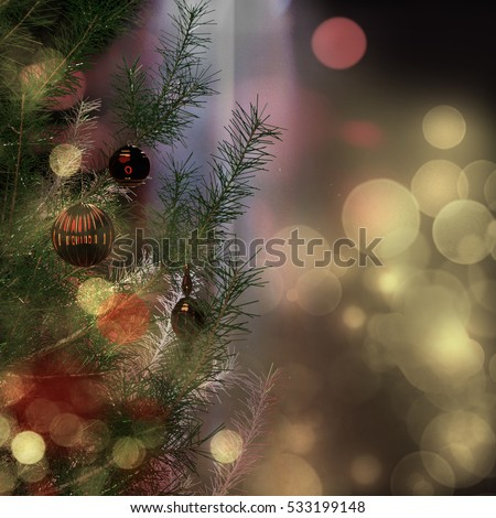 A 3d illustration of a fir tree with Christmas ornaments and dramatic lighting.