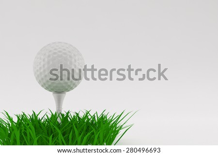 A 3D illustration of a Golf ball on grass with a white background.