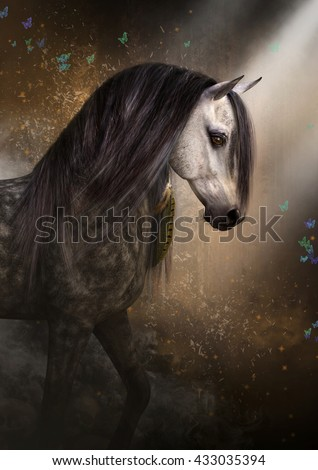 A 3d illustration of a horse walking into the light. Skulls and darkness are behind him and there are colorful butterflies to the front and sides of him.  - stock photo