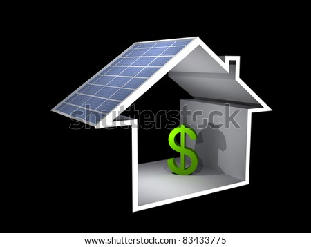 a 3d illustration of a house with solar panel and dollar sign