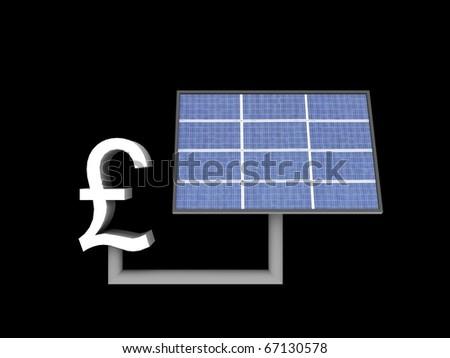 a 3d illustration of a solar panle powers a pound sign - stock photo