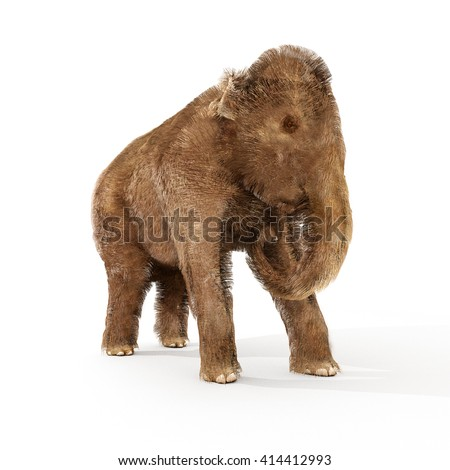 A 3D illustration of a young Woolly Mammoth on a white background.