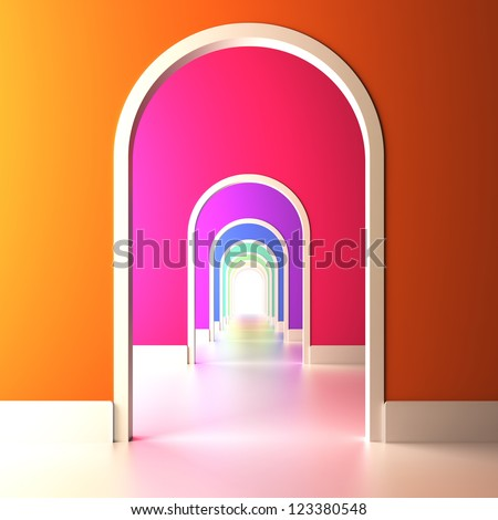 A 3d illustration of archway to the colorful future. - stock photo