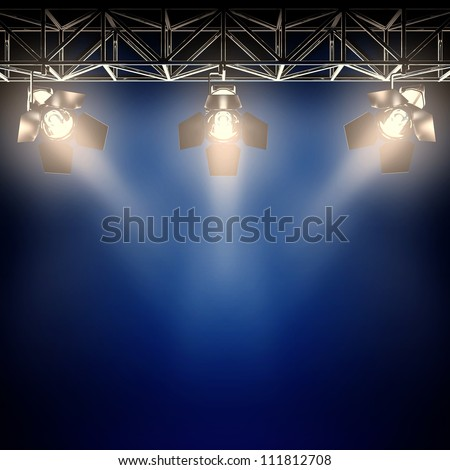 A 3d illustration of backstage spotlights. - stock photo