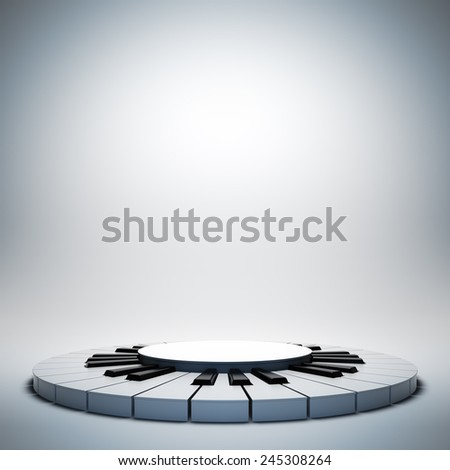 A 3d illustration of blank template layout of empty white jazz music stage. Stage on poster is empty to place your text, logo or object. - stock photo