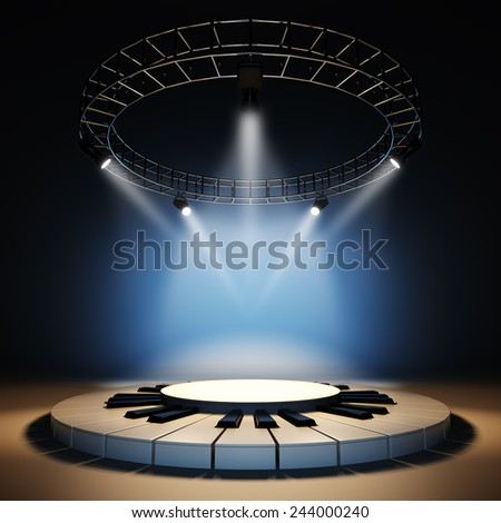A 3d illustration of blank template layout of jazz music stage illuminated by spotlights at blue background. Scene empty to place your text, logo or object. - stock photo