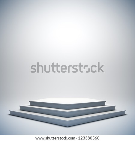 A 3d illustration of blank template layout of white empty musical, theater, concert or entertainment stage. - stock photo
