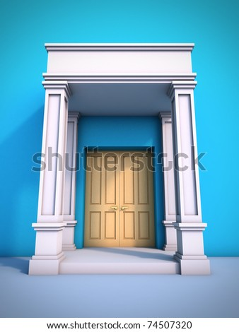 A 3D illustration of classical portal. - stock photo