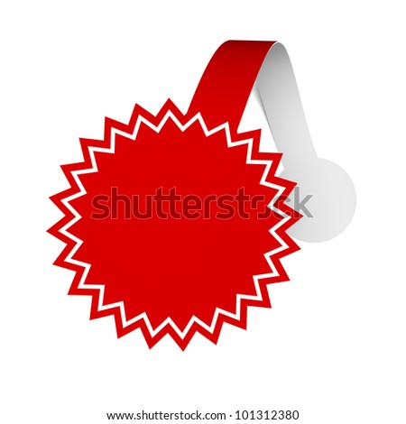A 3d illustration of distance sticker for promote various products. Wobbler. - stock photo