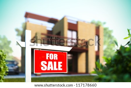 "A 3D illustration of ""Home For Sale"" sign in front of new house. - stock photo"