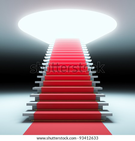 A 3d illustration of red carpet to the future. - stock photo